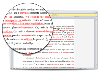 Example of proofreading and editing